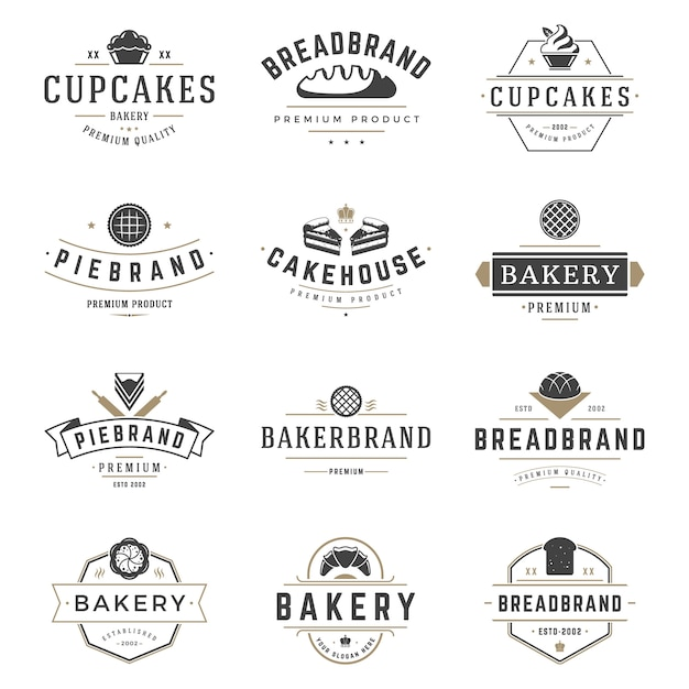 ベーカリーショップのロゴとバッジのデザインテンプレートセットベクトル、ペストリー食品またはベイクハウスのロゴ Premiumベクター