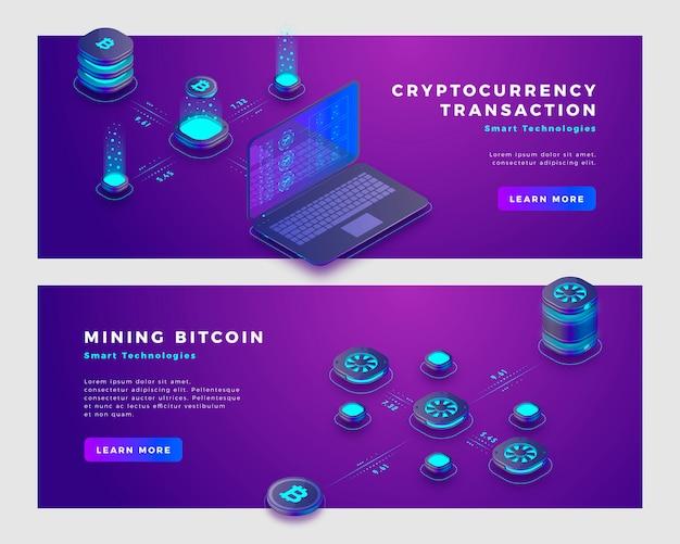 Майнинг биткойн и криптовалюты транзакции концепции баннер шаблон. Premium векторы