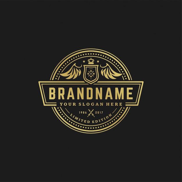 高級ロゴデザインテンプレートベクトルイラストビクトリア朝のビネットロイヤル飾り図形ロゴまたはラベルデザイン。 Premiumベクター
