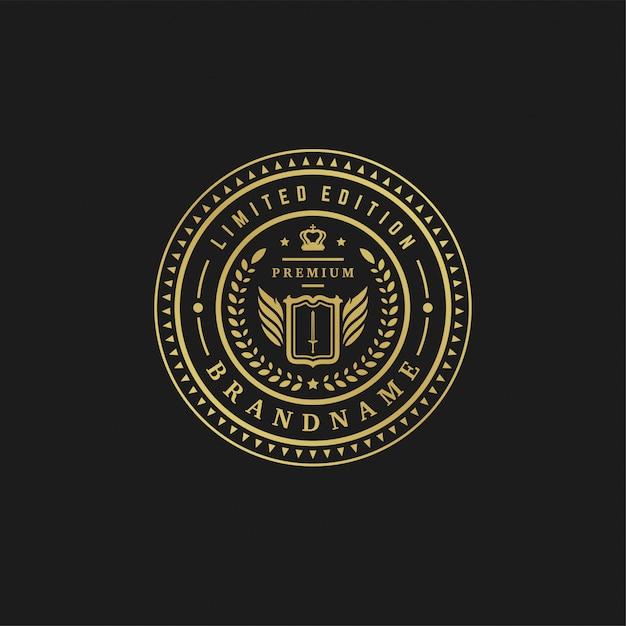 Формы орнамента викторианских виньеток роскошной иллюстрации вектора шаблона дизайна логотипа королевские для дизайна логотипа или ярлыка. Premium векторы