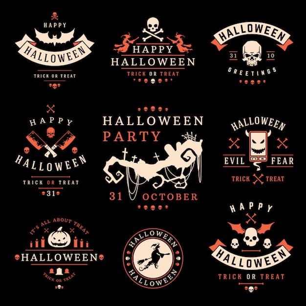 Коллекция этикеток и логотипов на хэллоуин Premium векторы