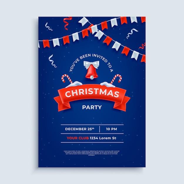 メリークリスマスパーティーレイアウトポスターテンプレート Premiumベクター