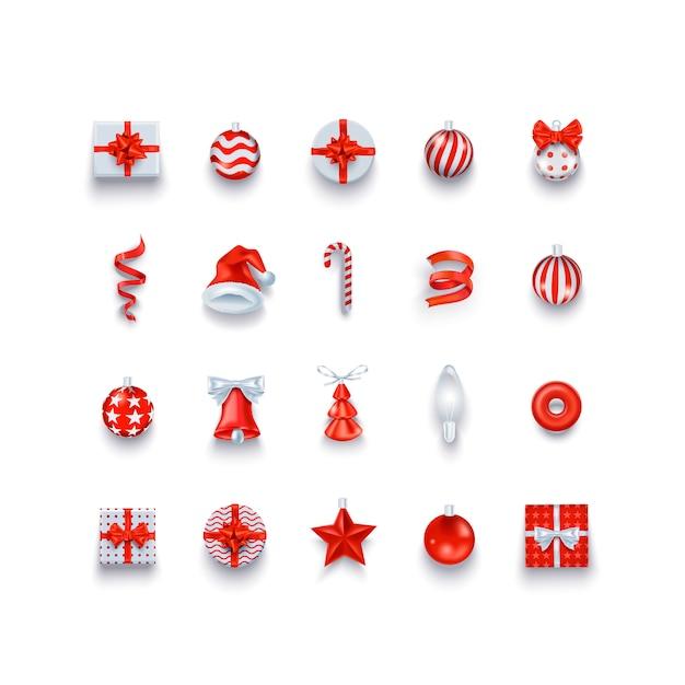 クリスマスのアイコンとオブジェクトは、休日の装飾を設定します Premiumベクター