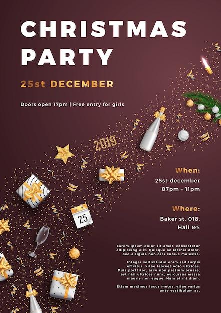 メリークリスマスパーティーレイアウトポスターポスターやチラシテンプレート。 Premiumベクター