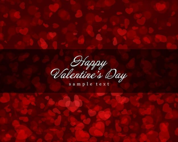 День святого валентина фон светящиеся и летающие сердца конфетти с местом для пожелания векторная иллюстрация Premium векторы