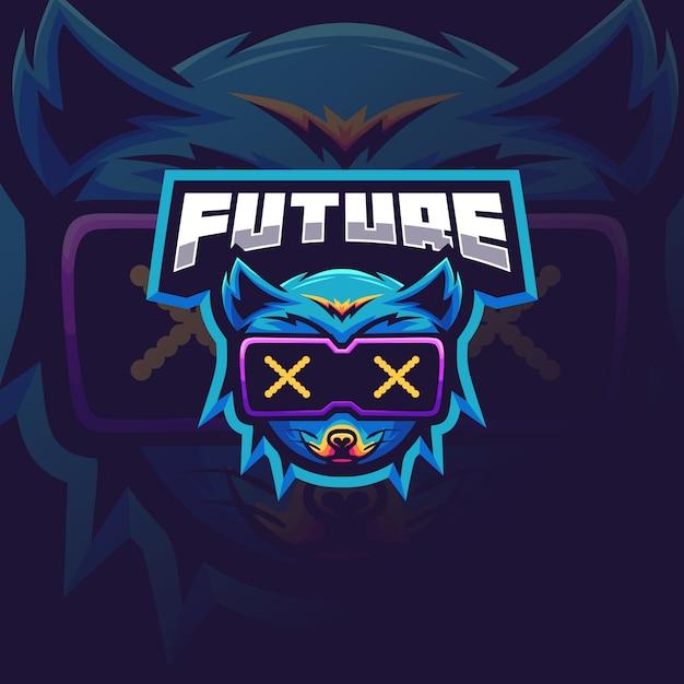 Футуристический лиса логотип для киберспорта Premium векторы
