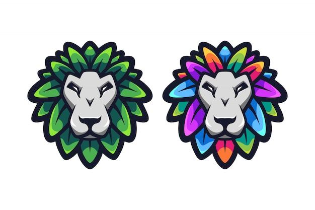 Дизайн логотипа талисмана из листьев льва Premium векторы