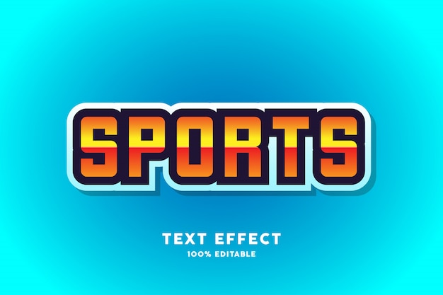 青いスポーツテキスト効果、編集可能なテキスト Premiumベクター