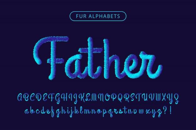 Синий мех реалистичный фирменный шрифт алфавитов Premium векторы