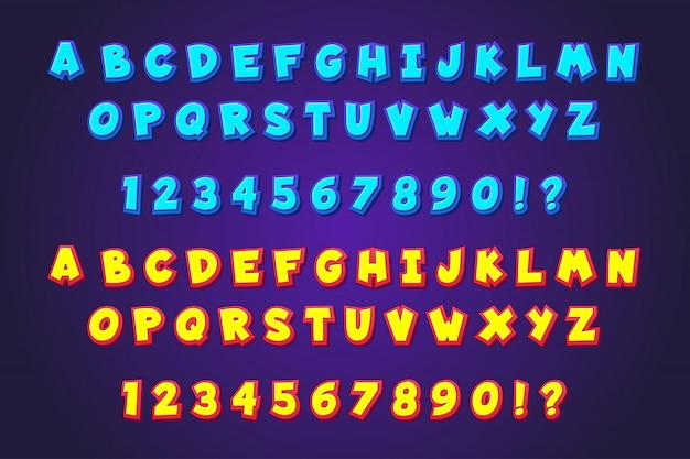 Комикс мультфильм типография шрифтов стиль алфавитов Premium векторы