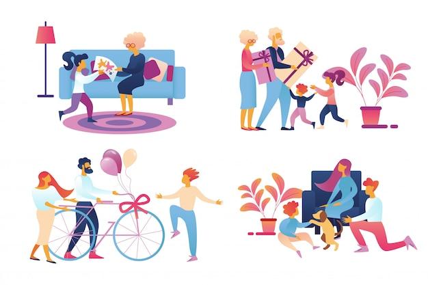 Счастливая семья дарит подарки Premium векторы