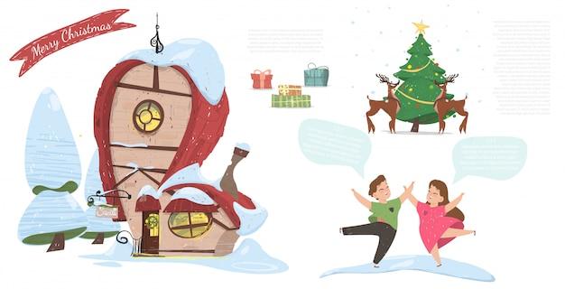Счастливого рождества, праздничный мультфильм, баннер Premium векторы