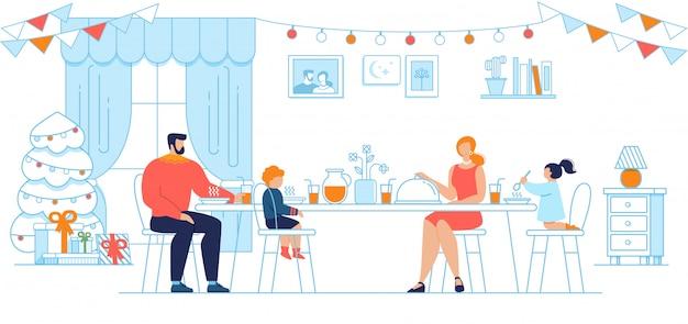 クリスマスイブ家族ディナーフラットコンセプト Premiumベクター