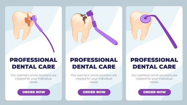 フラットバナーは、プロの歯科医療に書かれています。 Premiumベクター