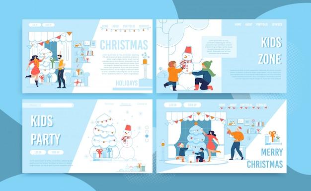 クリスマスセレブレーションパーティータイムランディングページセット Premiumベクター
