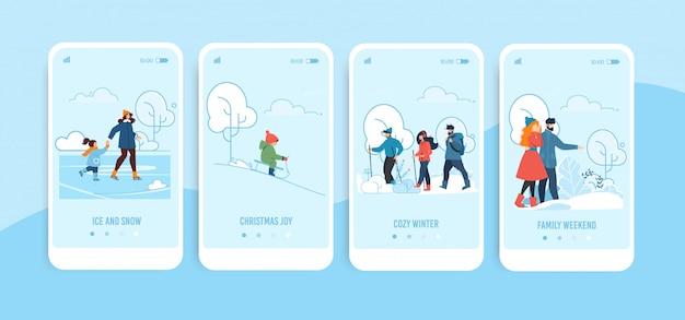 家族の冬のアクティビティで設定されたモバイル画面 Premiumベクター