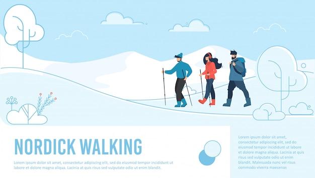 Целевая страница для скандинавской ходьбы Premium векторы