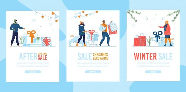 冬クリスマスセールフラットモバイルランディングページセット Premiumベクター