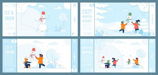Набор целевых страниц предлагает зимнее развлечение для детей Premium векторы