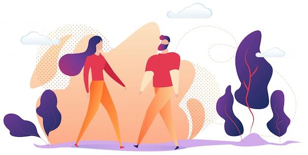 Молодой мужчина и женщина, одетые в повседневную одежду, стоял вместе на открытом воздухе Premium векторы