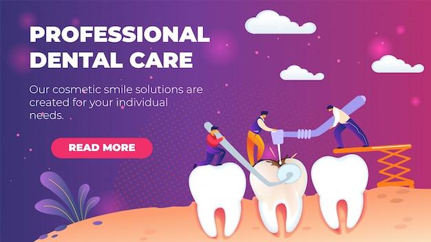 Шаблон горизонтального плоского баннера профессиональная стоматологическая помощь. Premium векторы