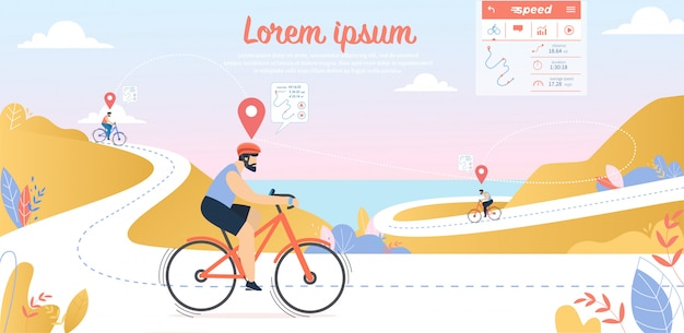 サイクリング競技、シースケープビューとマウンテンストリーマルートで自転車を運転する若いスポーツマン Premiumベクター