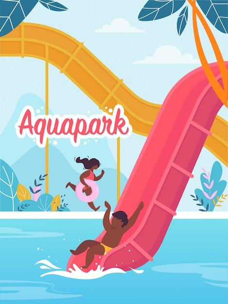Рекламный баннер письменный аквапарк мультяшный Premium векторы