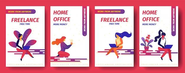 Фриланс, свободное время, домашний офис больше денег, работа со страницы мобильного приложения из любой точки мира встроенный экран для веб-сайта. Premium векторы