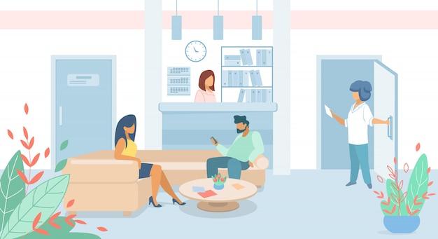 Пациенты мужчины и женщины, сидящие в лобби клиники Premium векторы