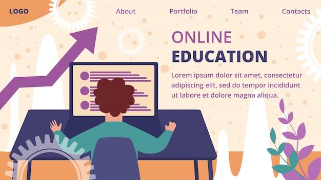 Шаблон целевой страницы онлайн-образования Premium векторы