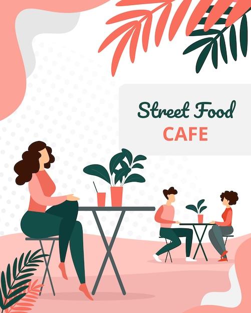 現代の夏時間カフェに座っている人々の訪問者 Premiumベクター