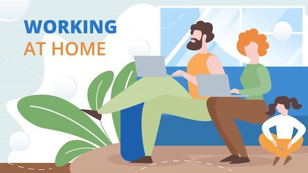 自宅で働くフリーランサーフラットベクトル概念 Premiumベクター