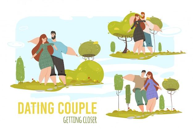 男と女のロマンチックな関係、愛セットバナー Premiumベクター