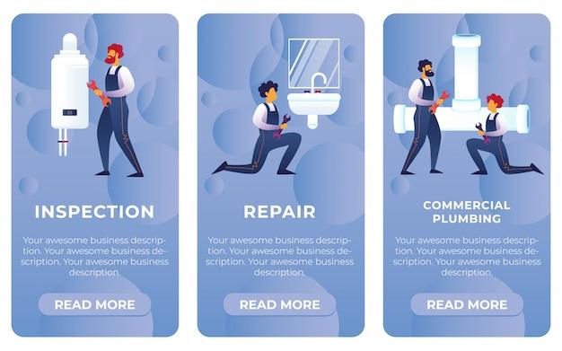 Установить плоский осмотр, ремонт, коммерческая сантехника. Premium векторы