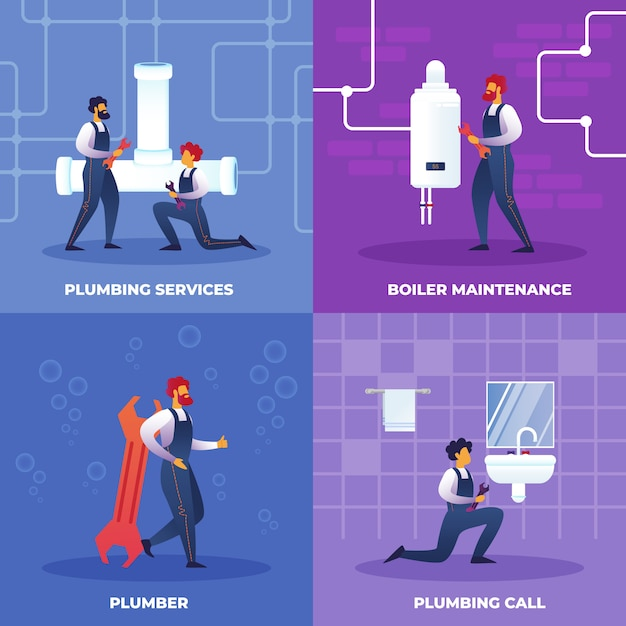 Установить сантехнические услуги вызов, обслуживание котлов. Premium векторы