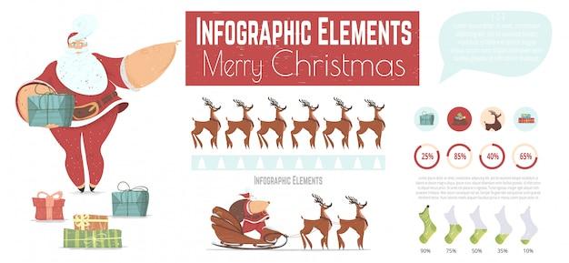 Рождественский мультяшный векторный набор инфографики Premium векторы