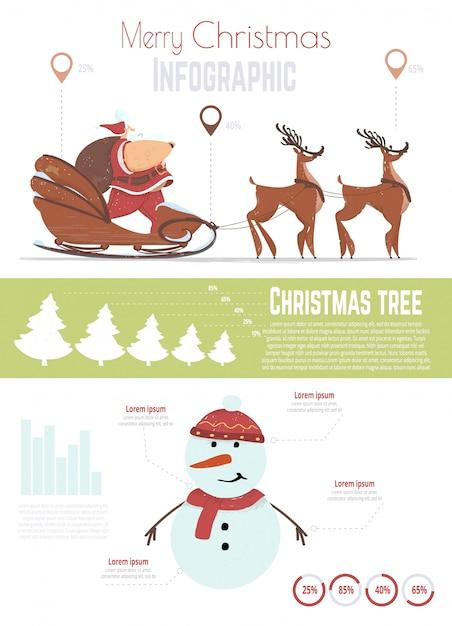 クリスマスのお祝いのインフォグラフィックテンプレート Premiumベクター