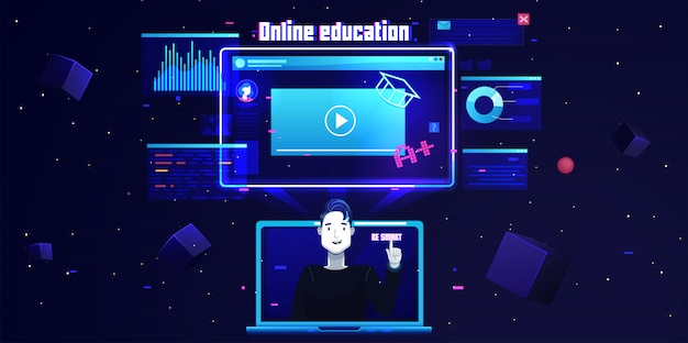 未来的なフラットオンライン教育の背景 Premiumベクター