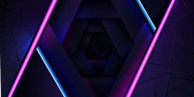青とピンクの光のラインとテクスチャの抽象的なネオンの背景。 Premiumベクター