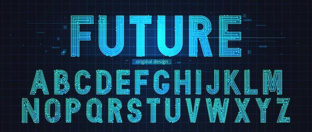 Неоновый футуристический алфавит шаблон Premium векторы