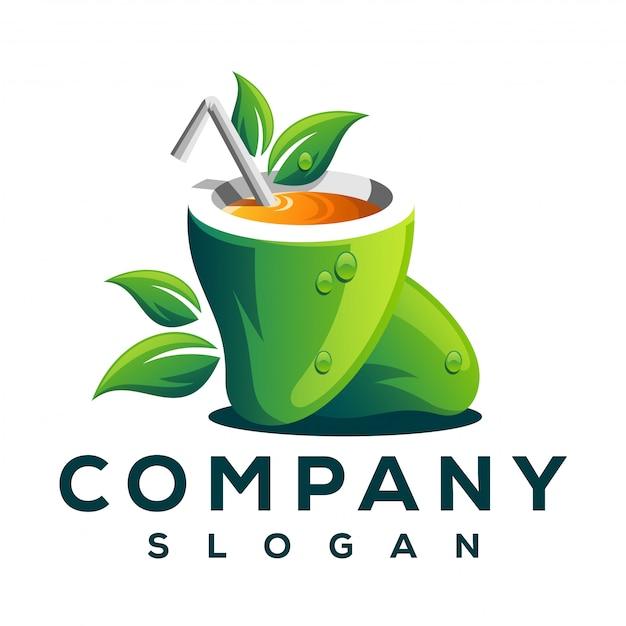 マンゴーフルーツのロゴ Premiumベクター