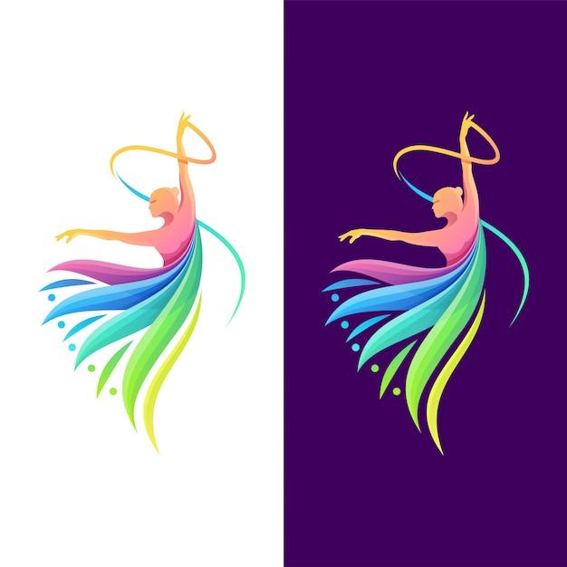 ダンスカラーのロゴデザイン Premiumベクター