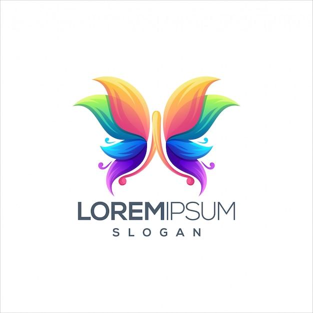素晴らしい蝶のロゴデザインデザインのベクトル Premiumベクター