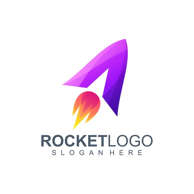ロケットのロゴデザインイラストを手紙します。 Premiumベクター