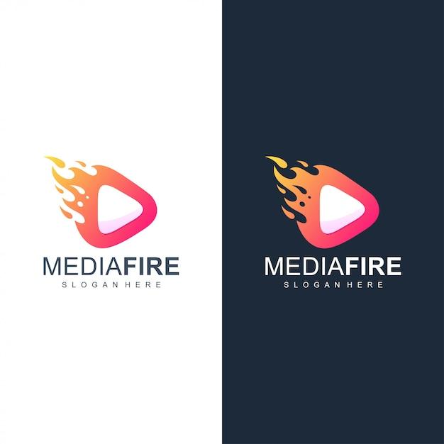 Медиа огонь логотип Premium векторы