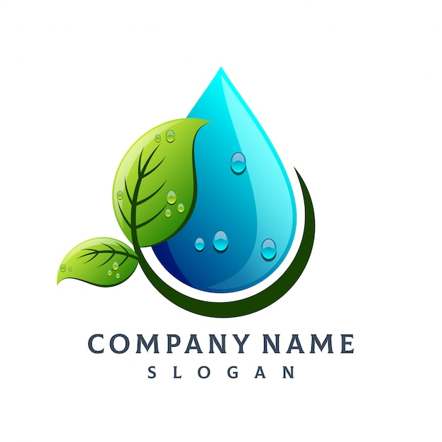 Логотип капли воды лист Premium векторы