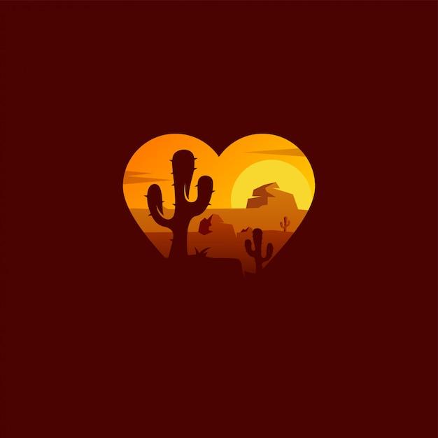砂漠のロゴデザイン Premiumベクター