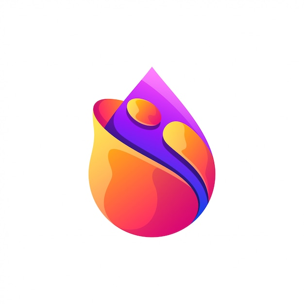 水滴ロゴデザインフルカラー Premiumベクター