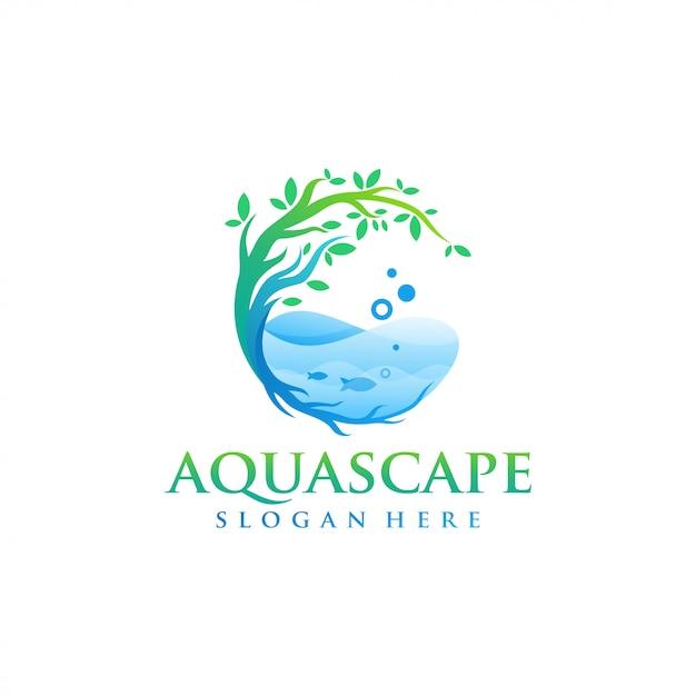 Акваскейп логотип дизайн вектор Premium векторы