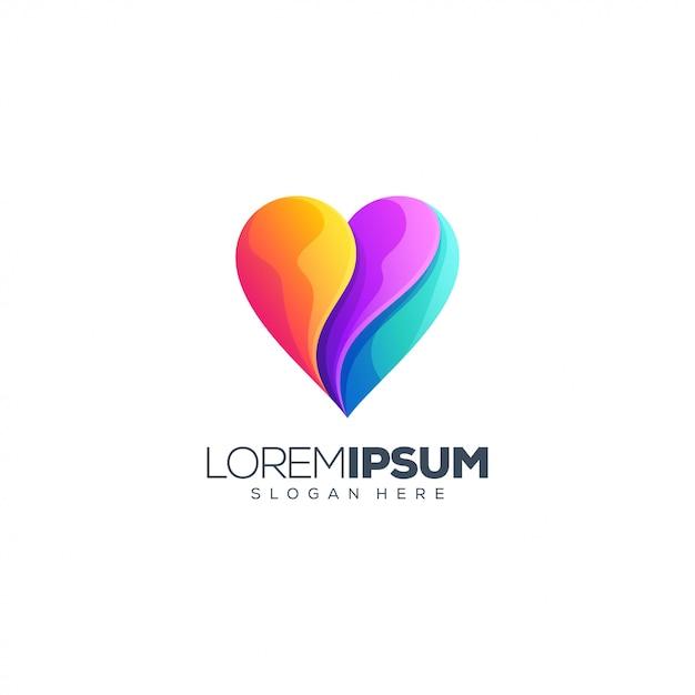 ハート愛のロゴデザイン Premiumベクター